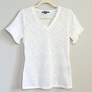 INC Intl Cncpts White Open Knit Short Sleeve Tee S